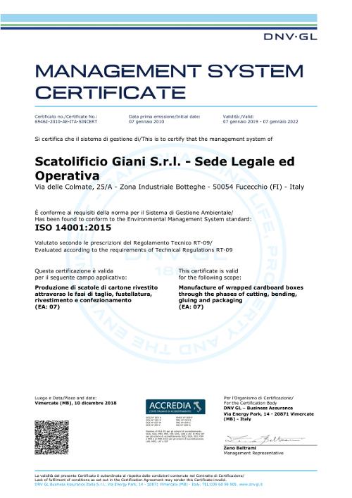 Certificazione sistema di Gestione per l'Ambiente (SGA) ISO 14001