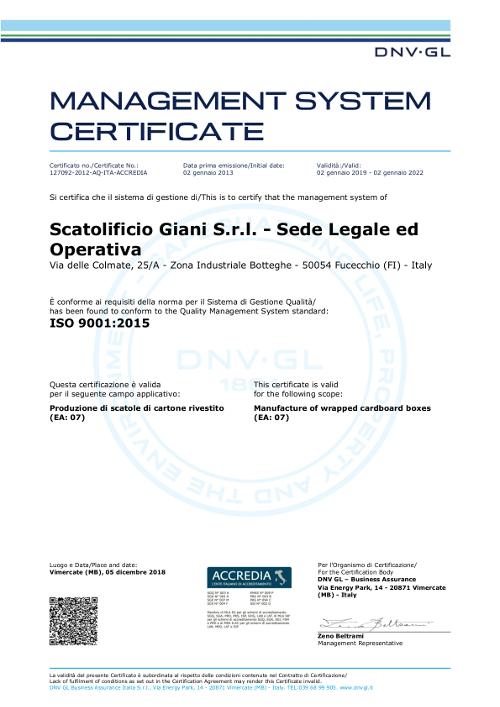 Certificazione sistema di Gestione per la Qualità (SGQ) ISO 9001